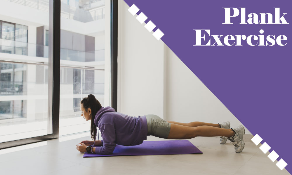 A girl is doing plank exercise